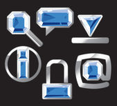 Gem icons with sapphire and silver — Stock Vector