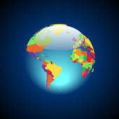 Globe with multicolored countries — Vector de stock