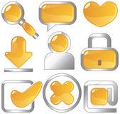 Metallic amber icons — Stock Vector