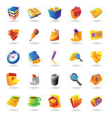 Realistic icons set for office themes — Stock Vector