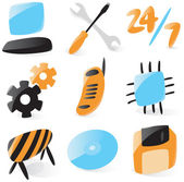 Smooth computer service icons — Stock Vector