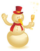 Snowman with wineglass gold — Stock Vector
