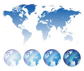 Blue world map and globes — Stock Vector