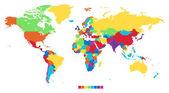 Carte du monde en couleurs de l'arc-en-ciel — Vecteur