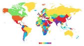 Wereldkaart in regenboogkleuren — Stockvector