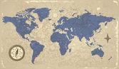 Pusula ile retro tarzı dünya haritası — Stok Vektör