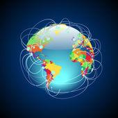 Conexiones en todo el mundo coloridas — Vector de stock