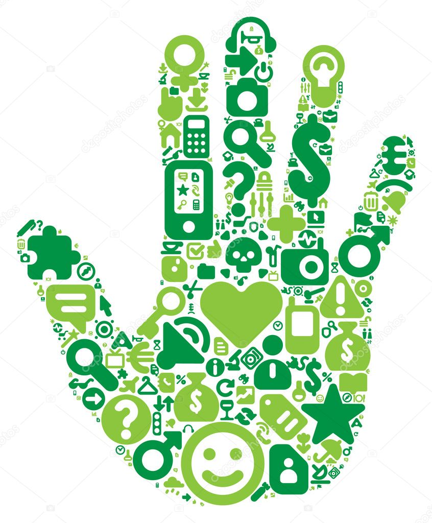 Human hand concept. Made of 100 vector icons set in green colors. — Stock Vector #2790332