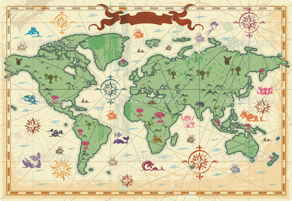 Retro-styled map of the World with trees, volcanos, mountains and fantasy monsters. Vector illustration. — Stock Vector #2791047