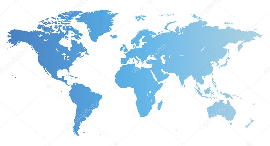 Map of the World in blue color. Vector illustration. — Stock Vector #2791055
