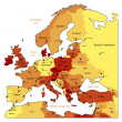 Orange map of Europe — Imagen vectorial