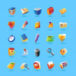 Realistic icons set for office — ベクター素材ストック