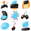Smooth pc hardware icons - Stok Vektör