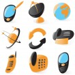 Smooth telecommunications icons — Stock Vector