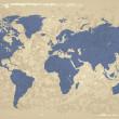 レトロなスタイルの世界地図 — ストックベクタ