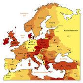 Orange map of Europe — Stock Vector