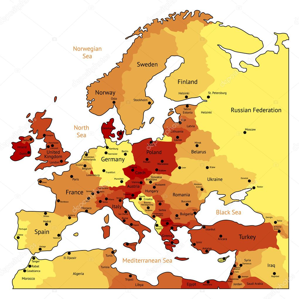 Europe map of hot orange colors. Names, town marks and national borders are in separate layers. Vector illustration. — Imagen vectorial #2801300