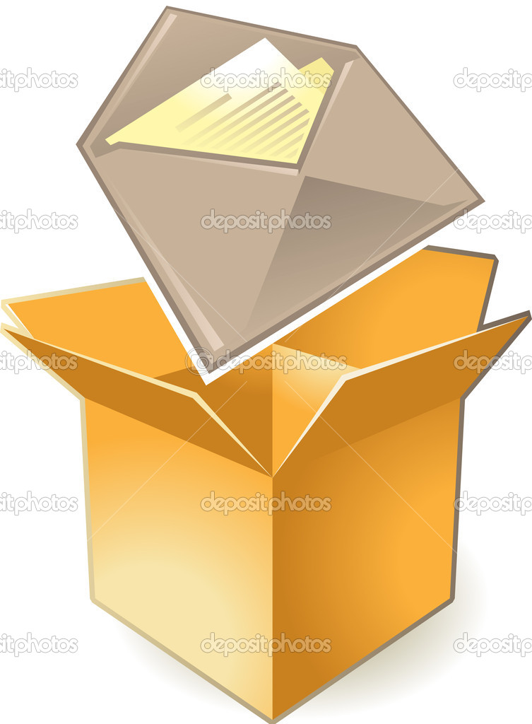 Letter in box. Vector illustration. — Stock Vector #2801354