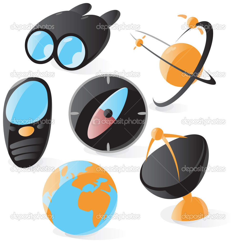 Set of smooth and glossy navigation icons. Vector illustration.   Stock Vector #2801599
