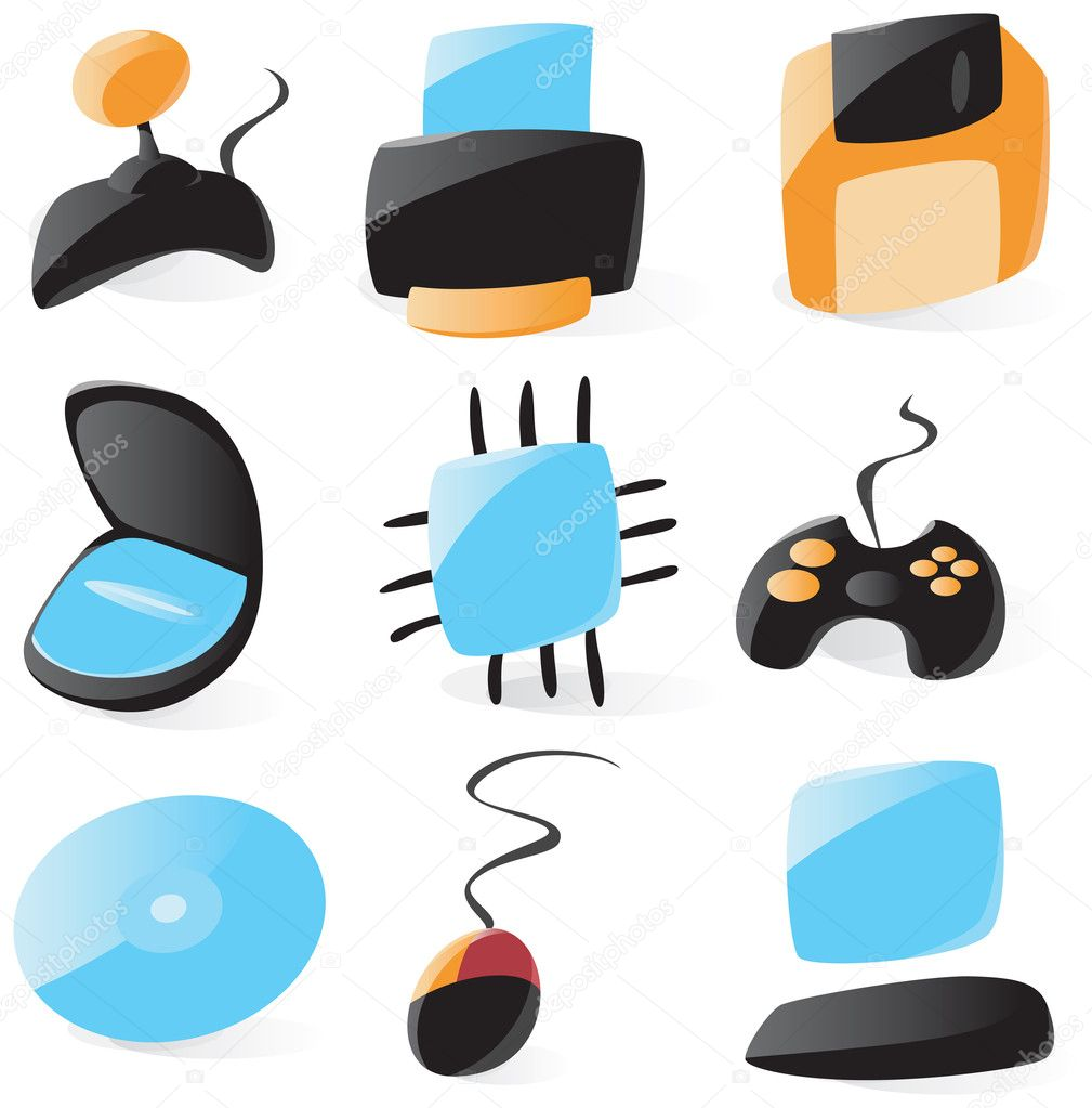 Set of smooth and glossy pc hardware icons. Vector illustration.   Stock Vector #2801607