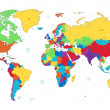 Multicolored detailed World map — Imagen vectorial