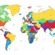 Multicolored detailed World map — Imagens vectoriais em stock