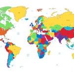 Mapa vícebarevné detailní světa — Stock vektor