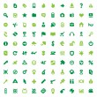 Green icons and signs - Stock Vector