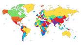 Mapa del mundo detallado multicolor — Vector de stock