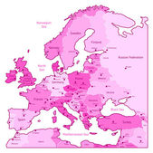 Pink map of Europe — Stock Vector