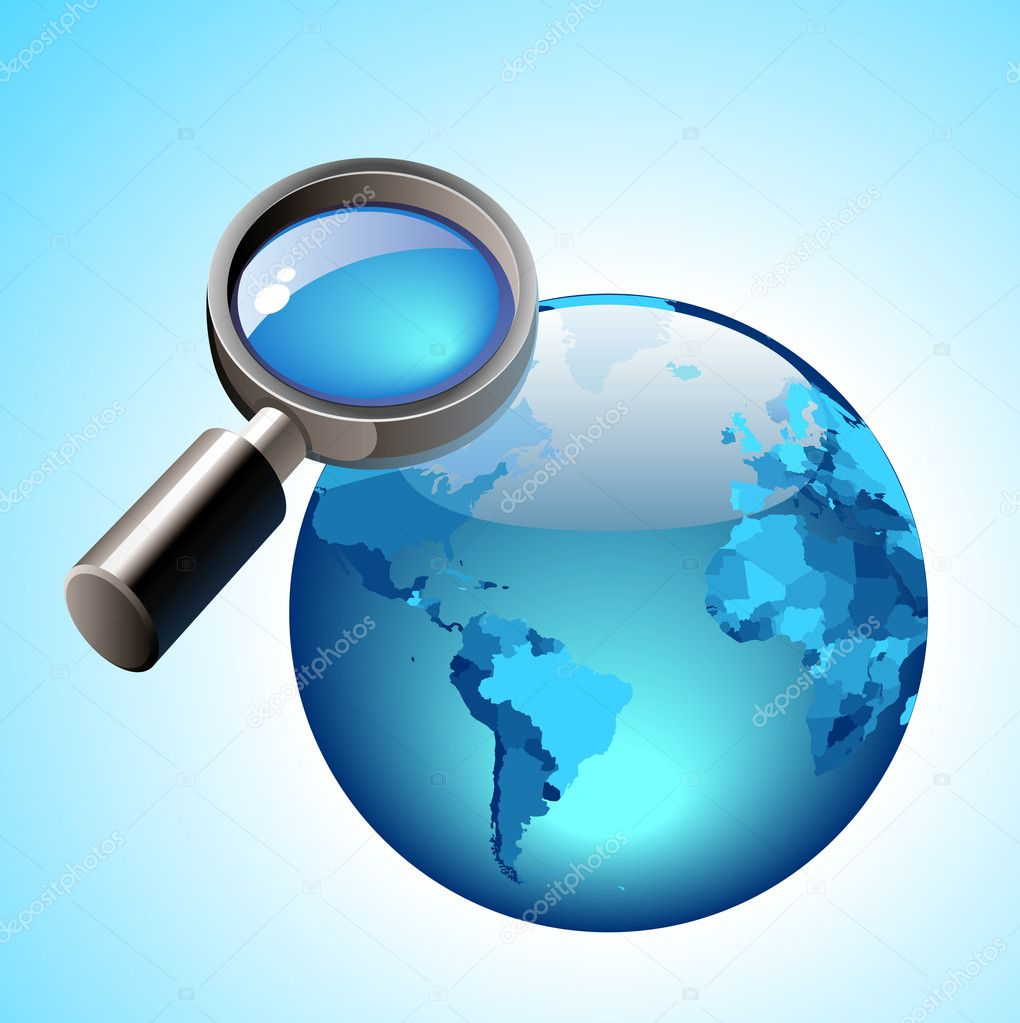 Globe and lens concept. Vector illustration. — Stock Vector #2889454