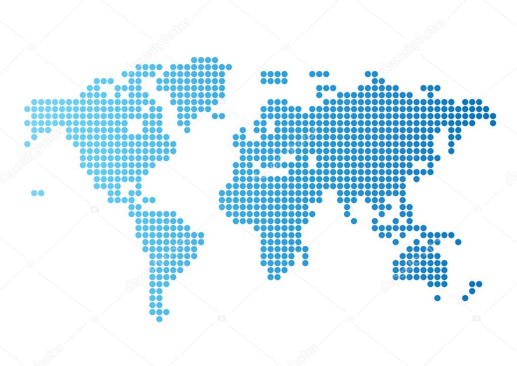 Abstract computer graphic World map of blue round dots. Vector illustration. — Stock Vector #2889563