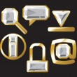 Gem icons with diamond - Image vectorielle