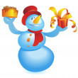 Snowman with cake and gift - Stock Vector