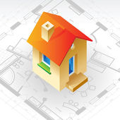 Blueprint and house concept — Vector de stock