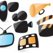 Stock Vector: Smooth movie icons