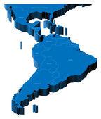 3d map of Latin America — Stock Vector