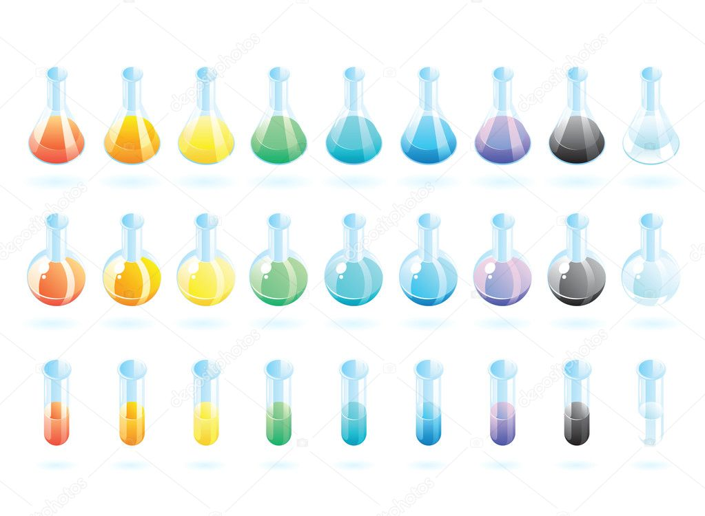 Chemical laboratory glass with multicolored substances. Vector illustration. — Stock Vector #3050756
