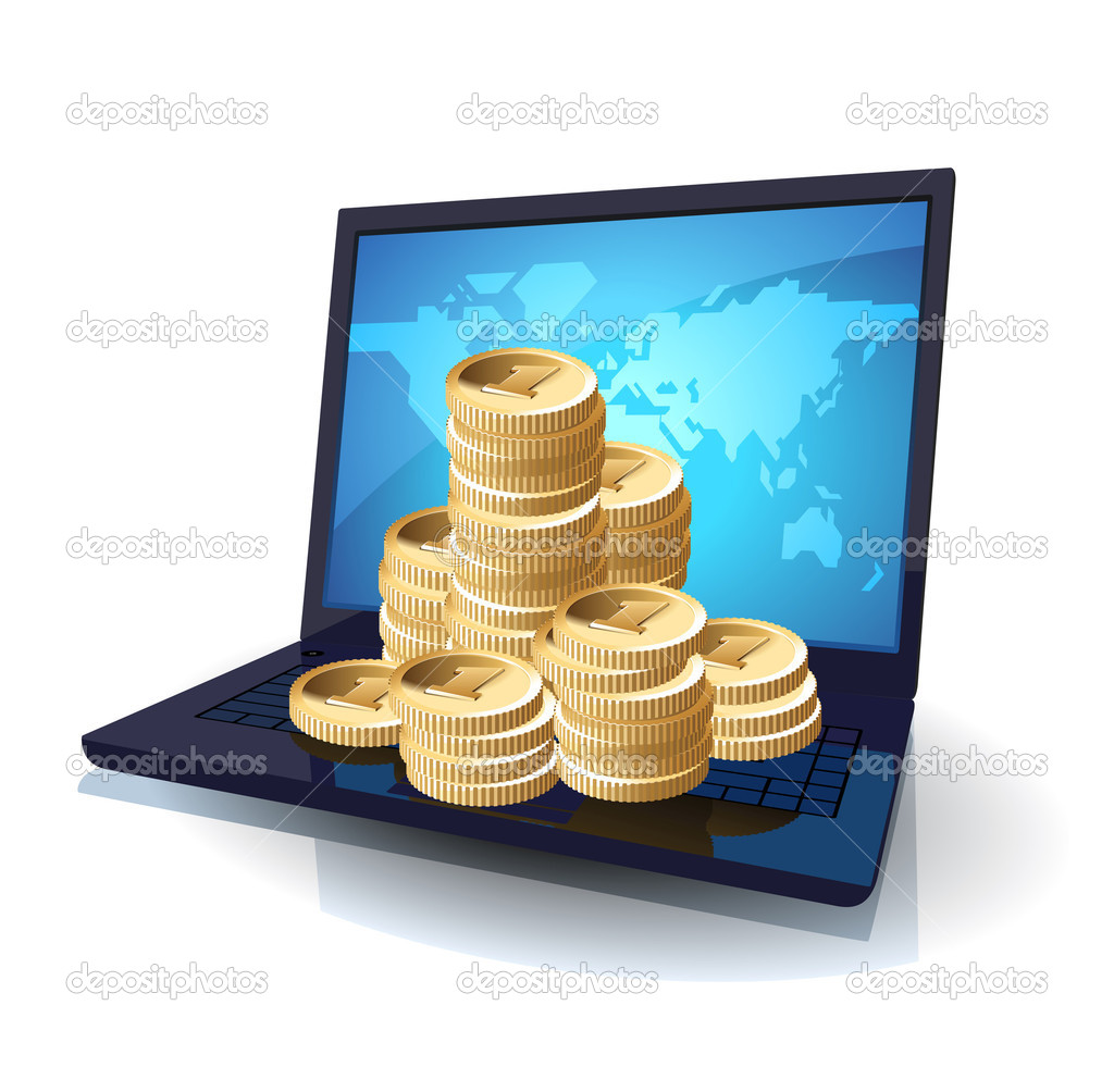 Laptop with money, web and IT business concept. Vector illustration. — Stock Vector #3050793