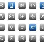Stencil matt buttons for entertainment — Stock Vector