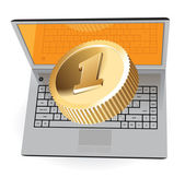 Laptop and golden coin — Stockvector