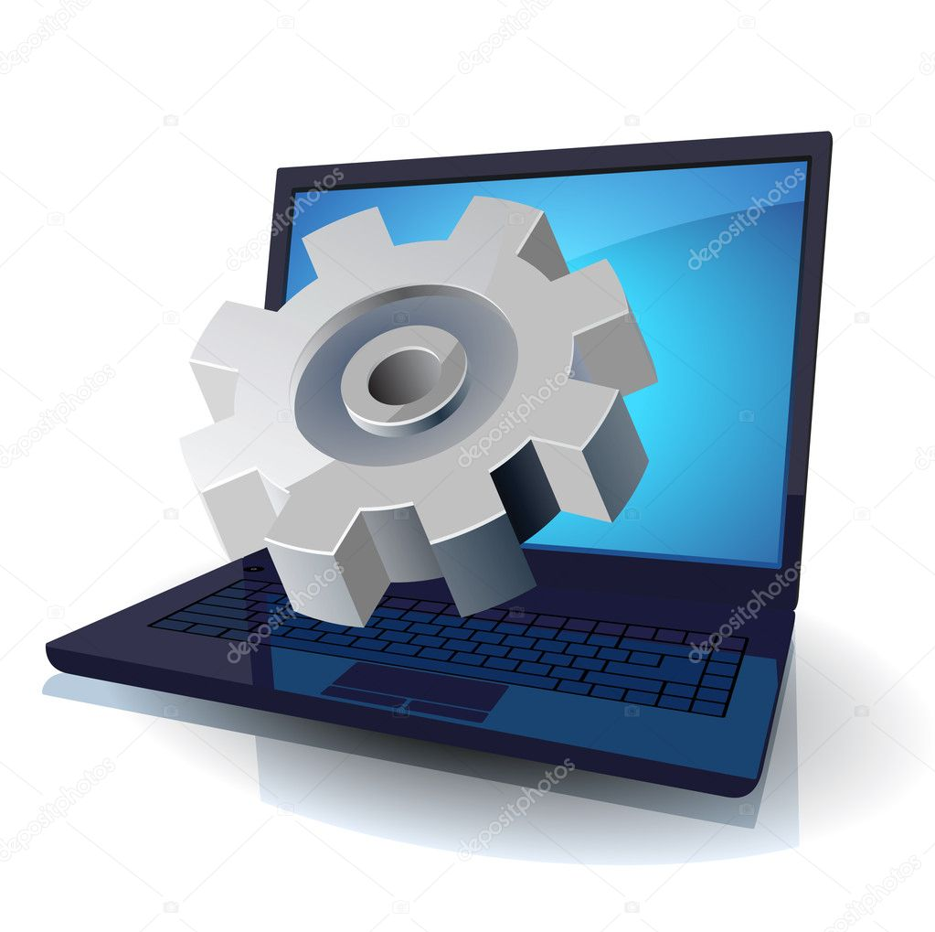 Laptop and gear. Vector illustration for technical support, hardware service, design department, heavy industry. — Stock Vector #3142544