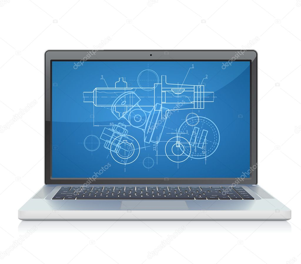 Laptop with engineering blueprint. Vector illustration for design department and heavy industry. — Stock Vector #3142563