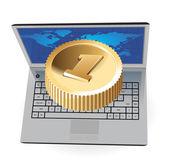 Ordenador portátil y la moneda de oro — Vector de stock
