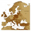 Brown map of Europe — Stock Vector