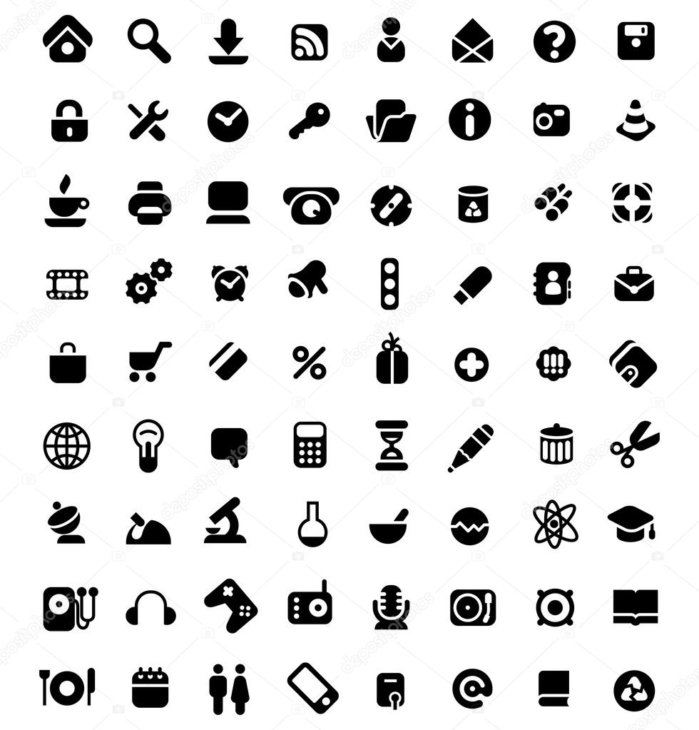 Set of 72 icons for website, computer, business, shopping, science, education and music. Vector illustration. — Векторная иллюстрация #3230424