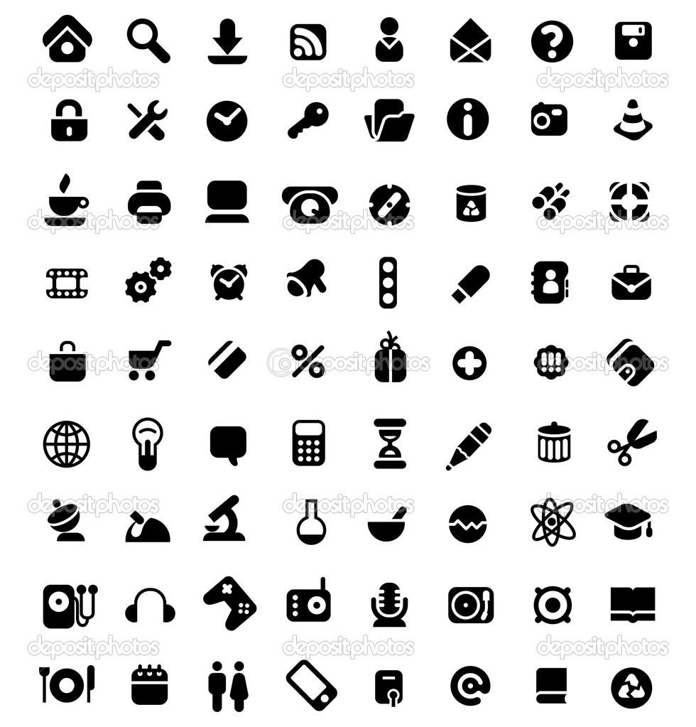 Set of 72 icons for website, computer, business, shopping, science, education and music. Vector illustration. — Imagens vectoriais em stock #3230424