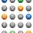 Stencil round buttons for internet — 图库矢量图片