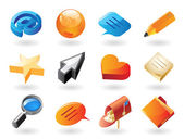 Isometric-style icons for conversation — Stock Vector