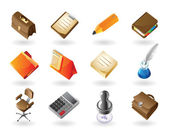 Isometric-style icons for office — Stock Vector